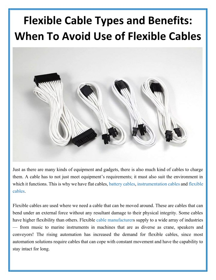 flexible cable types and benefits when to avoid n.