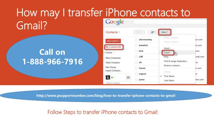 how may i transfer iphone contacts to gmail n.