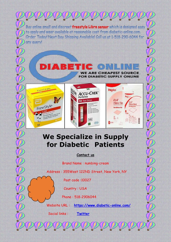 we specialize in supply for diabetic patients n.