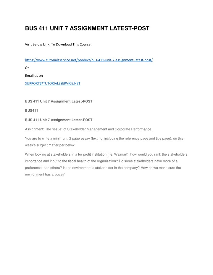 bus 411 unit 7 assignment latest post n.