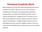 emotional creativity block
