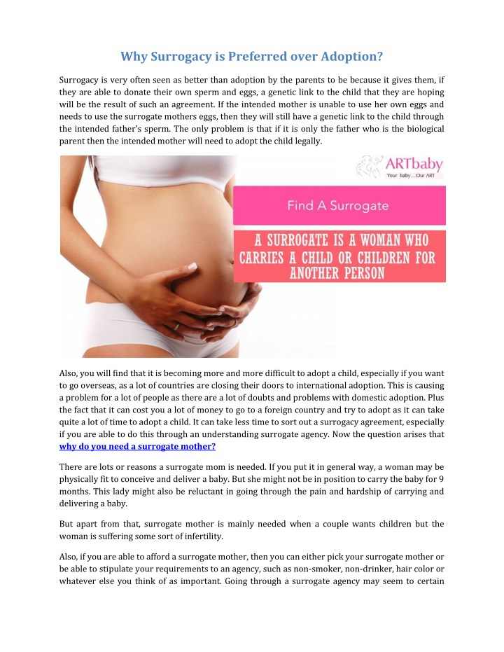 why surrogacy is preferred over adoption n.