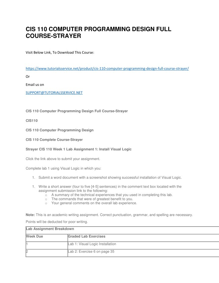 cis 110 computer programming design full course n.