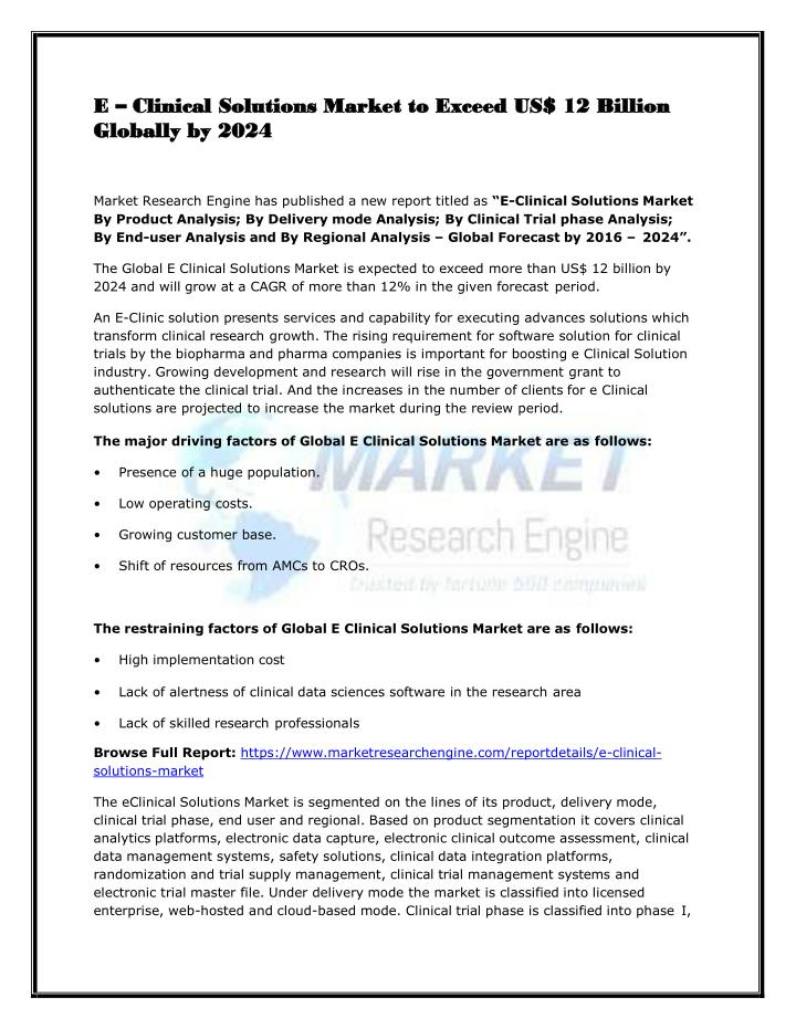 e clinical solutions market to exceed n.