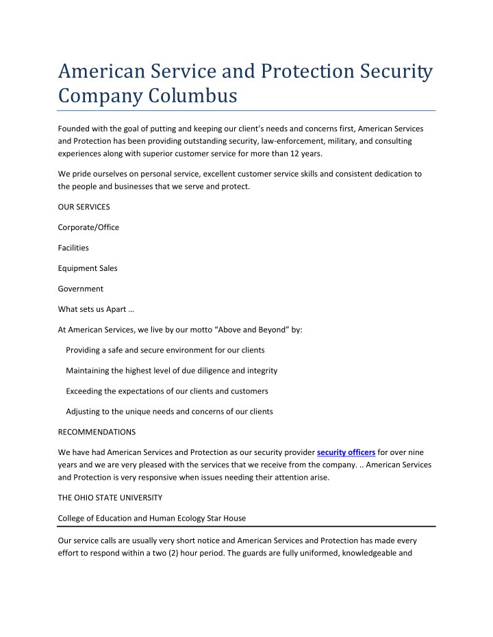 american service and protection security company n.