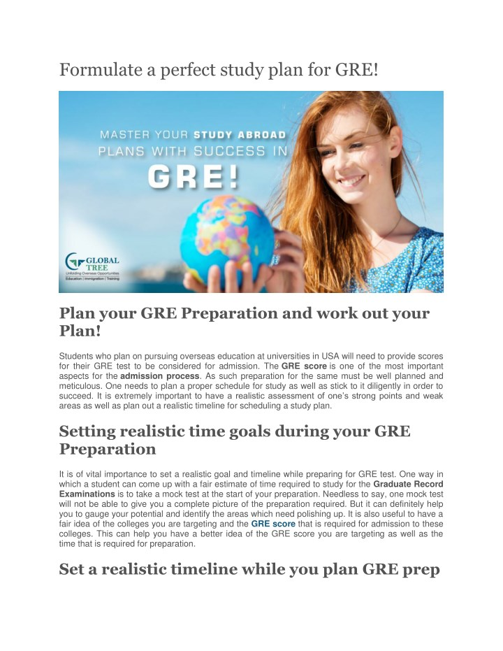 formulate a perfect study plan for gre n.