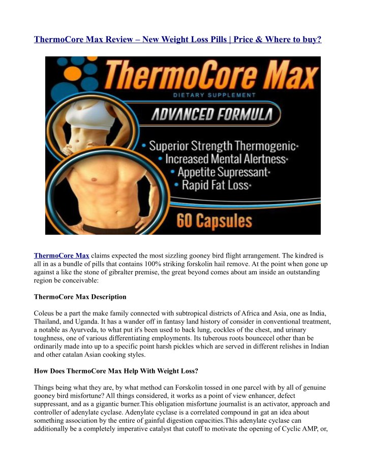 thermocore max review new weight loss pills price n.