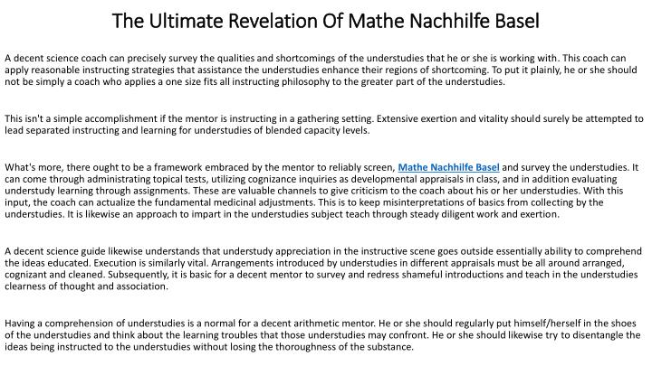 the ultimate revelation of mathe nachhilfe basel n.