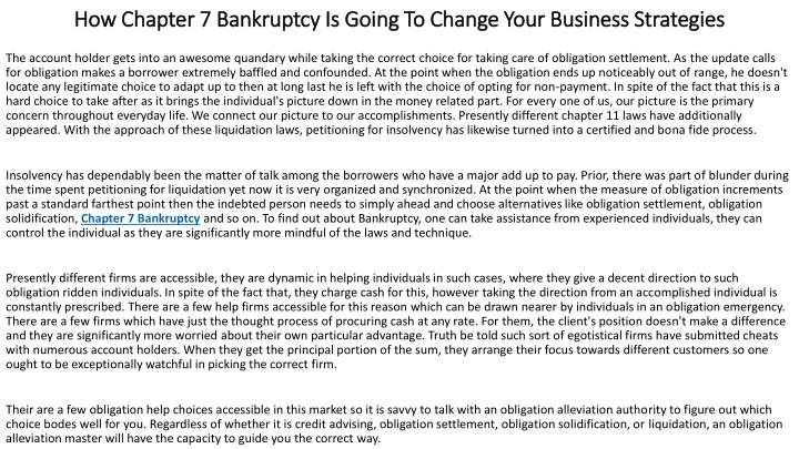 how chapter 7 bankruptcy is going to change your business strategies n.