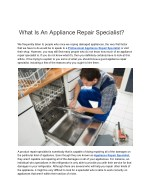 what is an appliance repair specialist