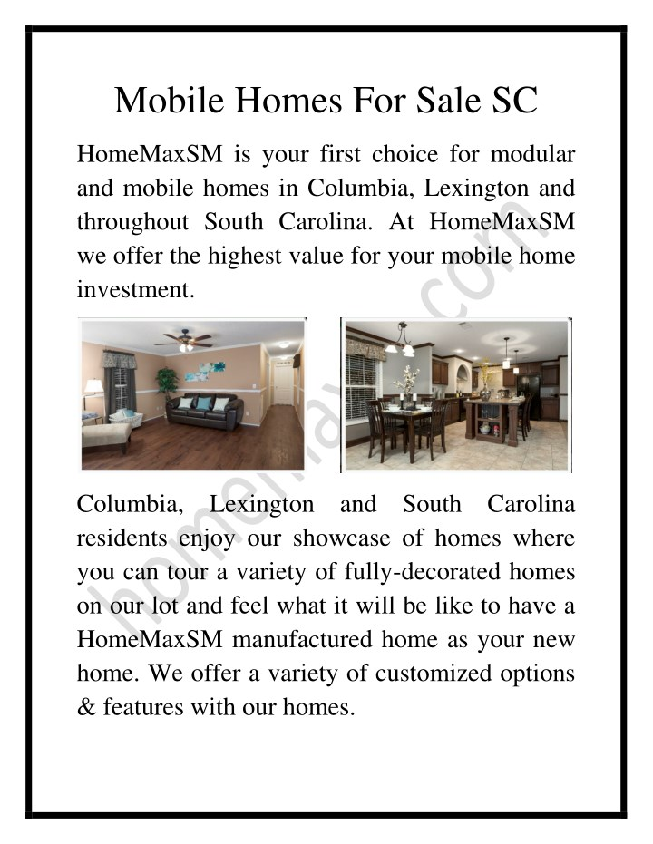 mobile homes for sale sc n.