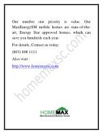 our number one priority is value our maxenergysm