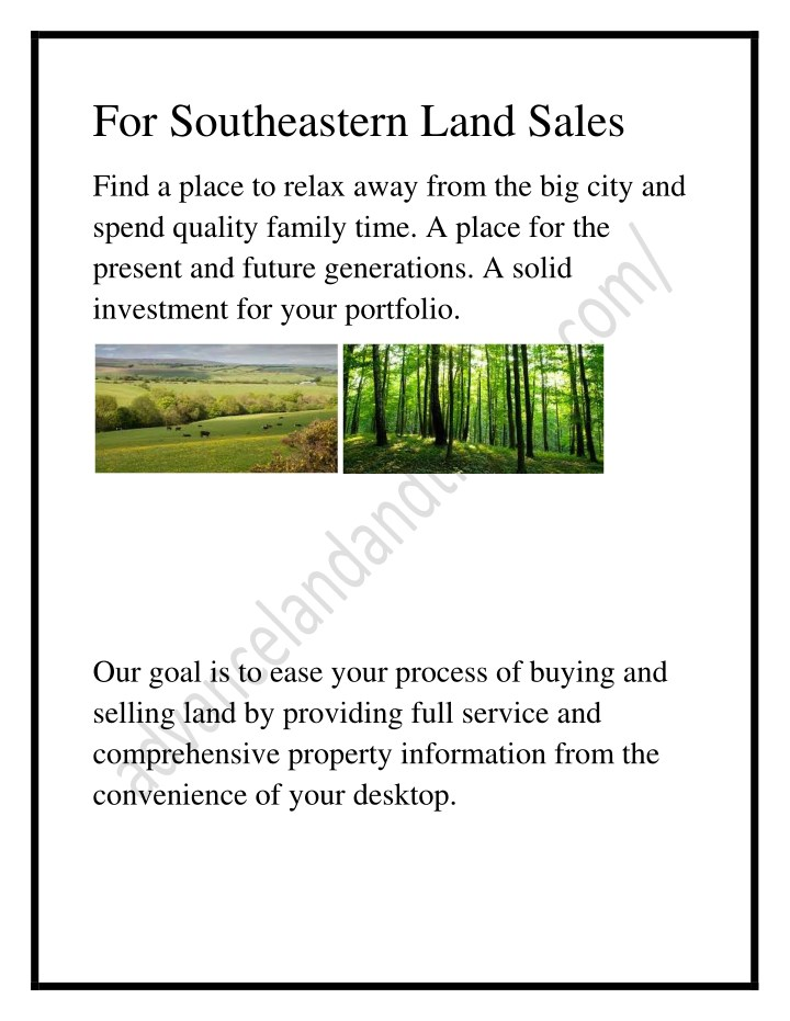 for southeastern land sales n.