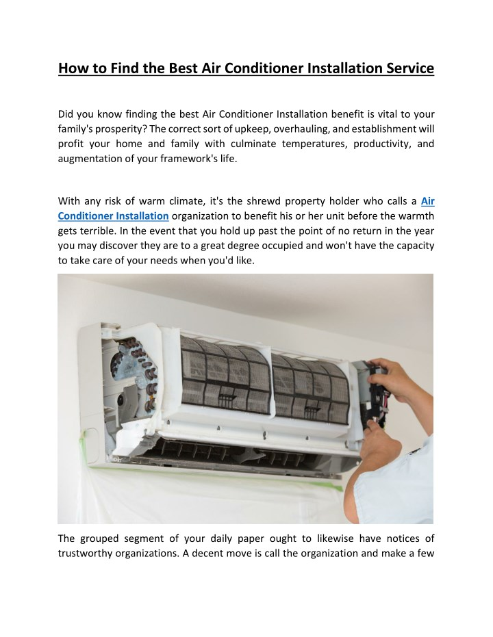 how to find the best air conditioner installation n.