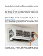 how to find the best air conditioner installation