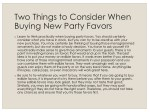 two things to consider when buying new party