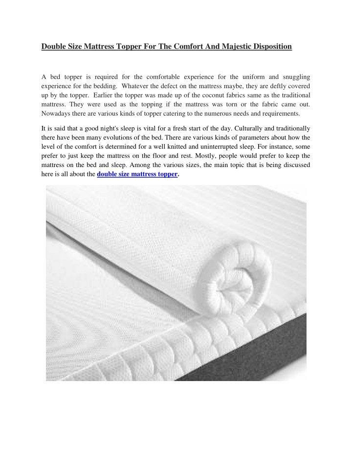 double size mattress topper for the comfort n.