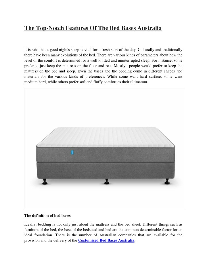 the top notch features of the bed bases australia n.