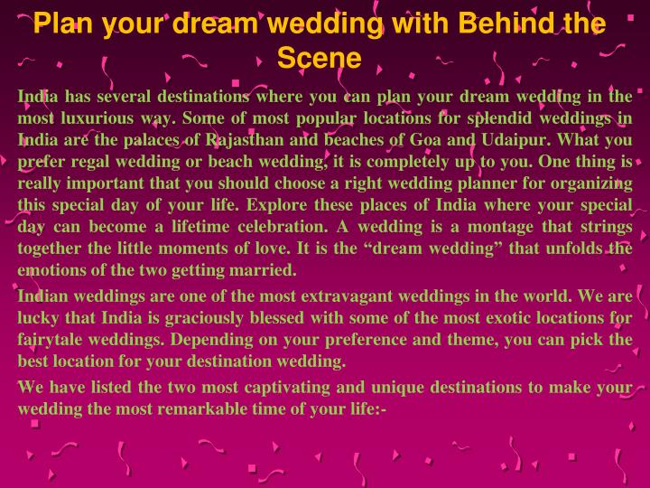 plan your dream wedding with behind the scene n.