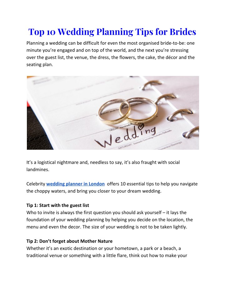 top 10 wedding planning tips for brides n.