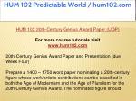 hum 102 predictable world hum102 com 1