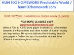 hum 102 homework predictable world hum102homework 10