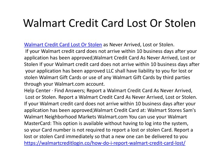 walmart credit card lost or stolen n.