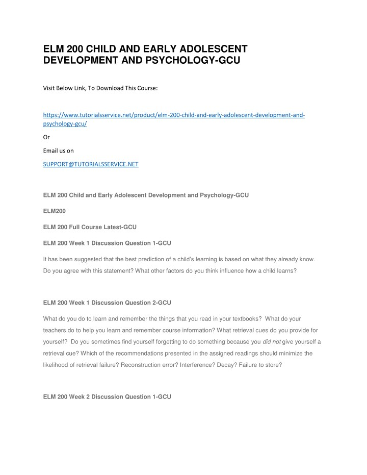 elm 200 child and early adolescent development n.