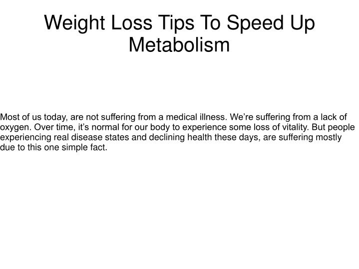 weight loss tips to speed up metabolism n.