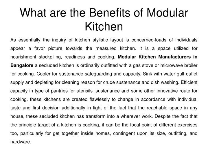 what are the benefits of modular kitchen n.