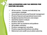 our accounting and tax services for doctors