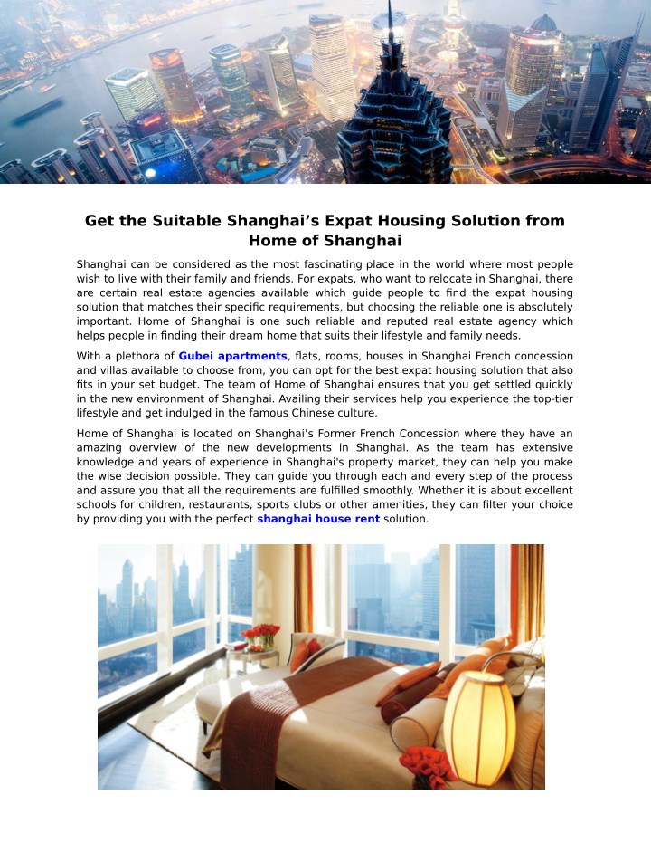 get the suitable shanghai s expat housing n.