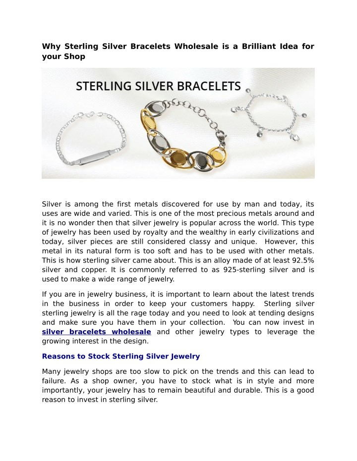 why sterling silver bracelets wholesale n.