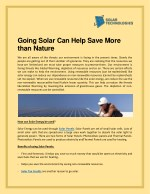 going solar can help save more than nature