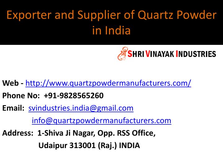 exporter and supplier of quartz powder in india n.