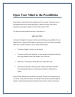 open your mind to the possibilities