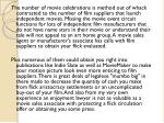 the number of movie celebrations is method