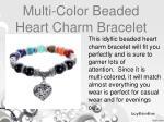 multi color beaded heart charm bracelet