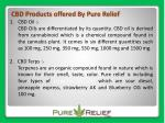 cbd products offered by pure relief