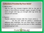 collections provided by pure relief 1