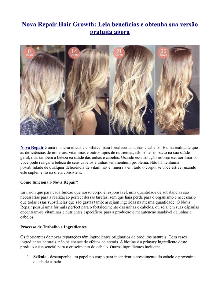 nova repair hair growth leia benef cios e obtenha n.