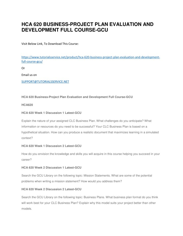 hca 620 business project plan evaluation n.