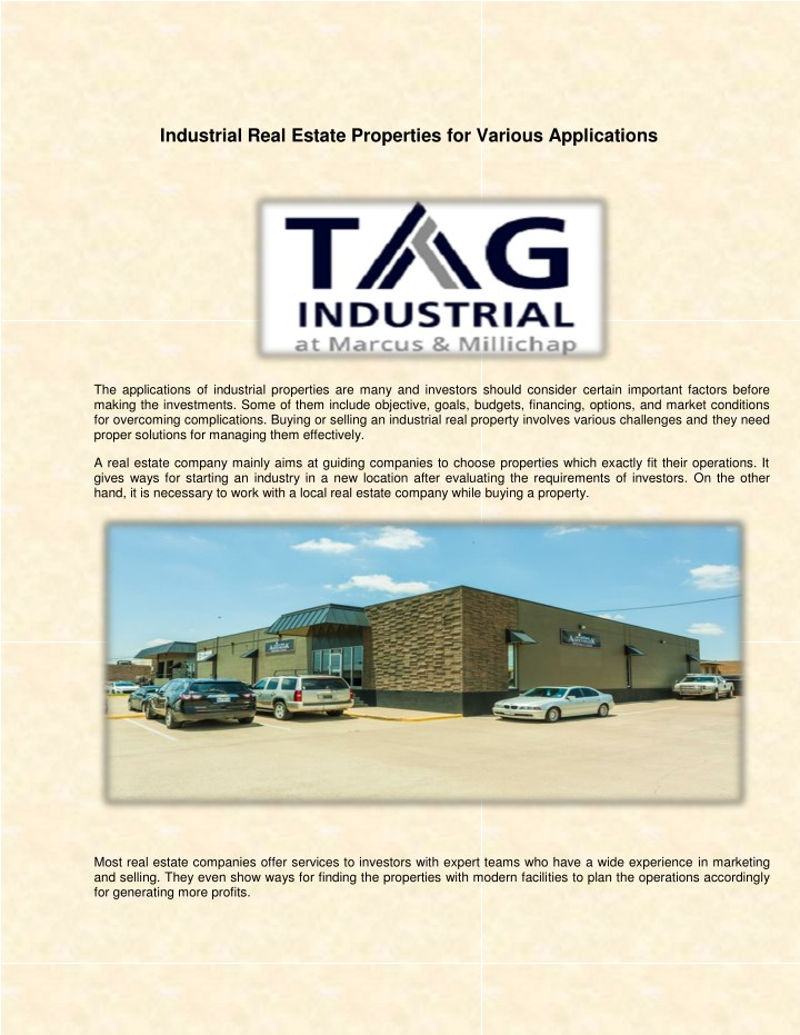 industrial real estate properties for various n.