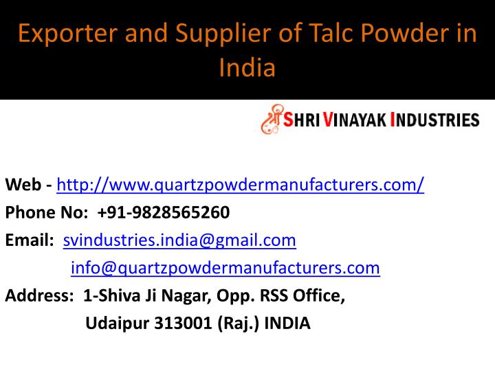 exporter and supplier of talc powder in india n.