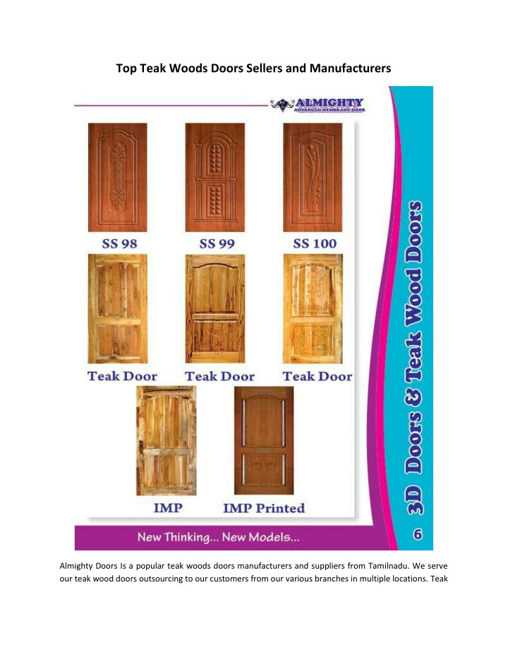 top teak woods doors sellers and manufacturers n.