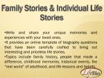 family stories individual life stories