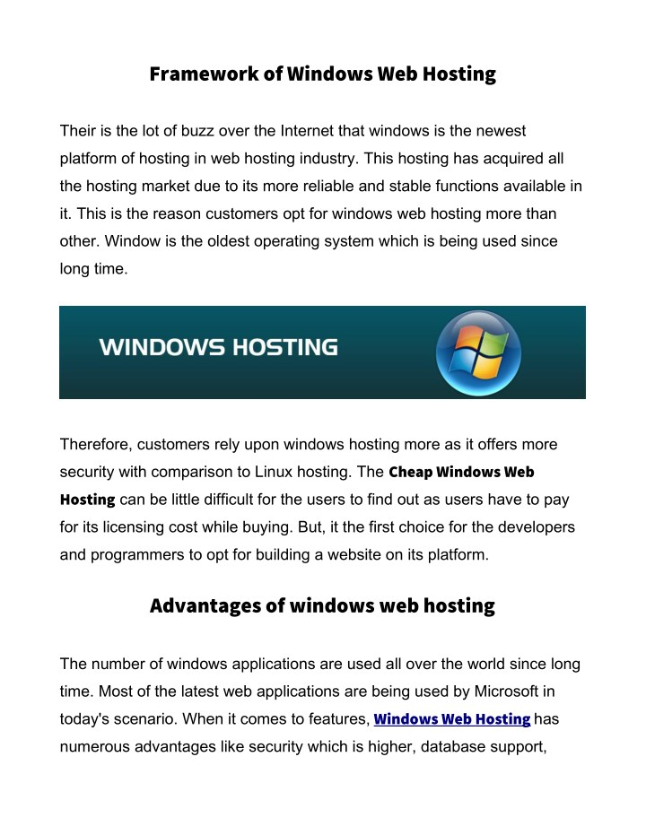 framework of windows web hosting n.