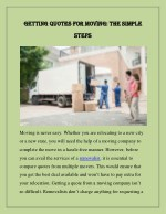 getting quotes for moving the simple getting