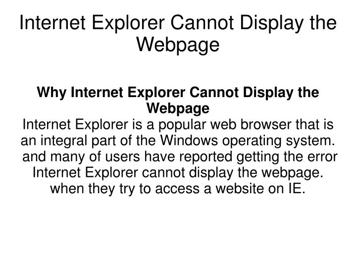 internet explorer cannot display the webpage n.