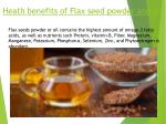 heath benefits of flax seed powder and oil